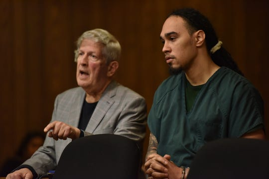 Christian Rodriguez, at right, stands next to his attorney Miles Feinstein who pleads his case on contempt of court for not testifying in the trial for the murder of Edrian Peguero. Rodriguez was the driver of a Kia Sorento, which was struck three times his bullets as Edrian Peguero was in the back seat and later died of his injuries. Judge Joseph A. Portelli gave Rodriguez a two month sentence to serve concurrently.