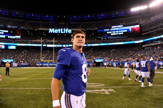 New York Giants rookie quarterback Daniel Jones on the field after the win. The New York Giants defeat the New York Jets, 31-22, in the first preseason game at MetLife Stadium on Thursday, August 8, 2019, in East Rutherford.