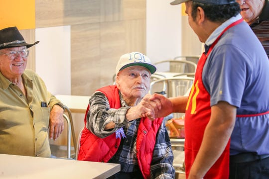 Jack Saunders celebrates his 101st birthday at a McDonalds in Las Cruces on Friday, Aug 9, 2019.