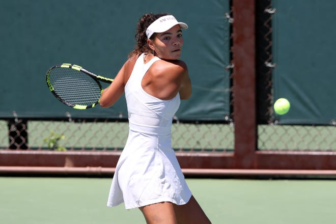 New Mexico State Aggies vs. Stanford Cardinal during the 2019 NCAA women's tennis tournament on May 4, 2019.