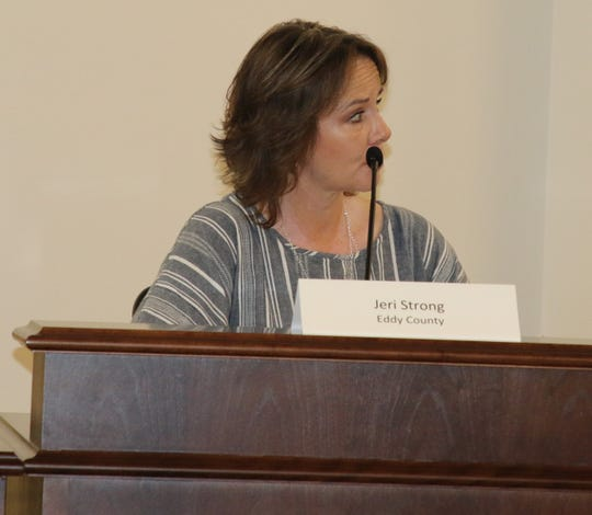 Jeri Strong, Eddy County oil and gas liaison, addresses the Eddy County Energy Advisory Board Aug. 8 in Artesia.