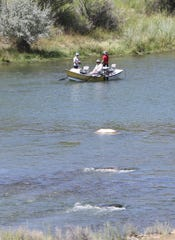 A drift boat full of anglers floats downstream, Thursday, Aug. 8, 2019, through the Quality Waters section of the San Juan River.