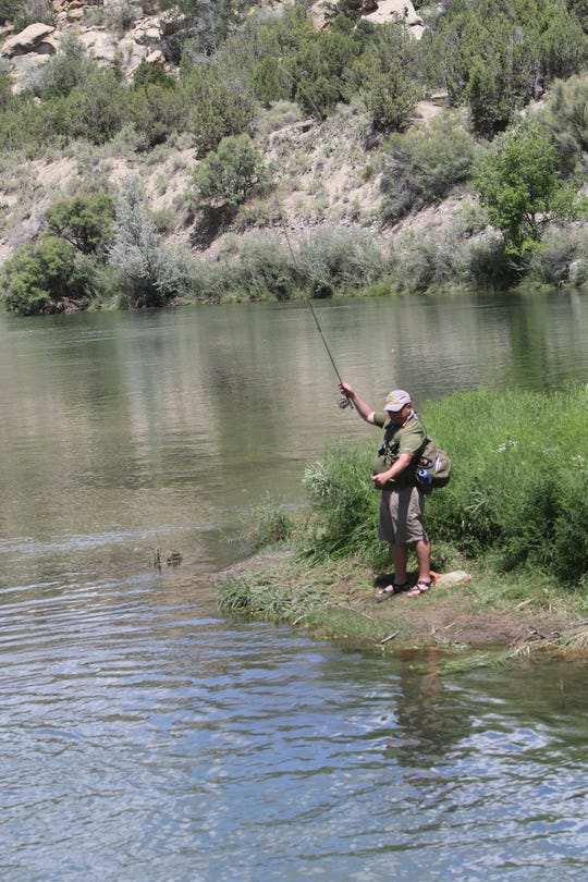 A trout fisherman untangles his line while standing on a small island, Thursday, Aug. 8, 2019, at the Texas Hole on the San Juan River.