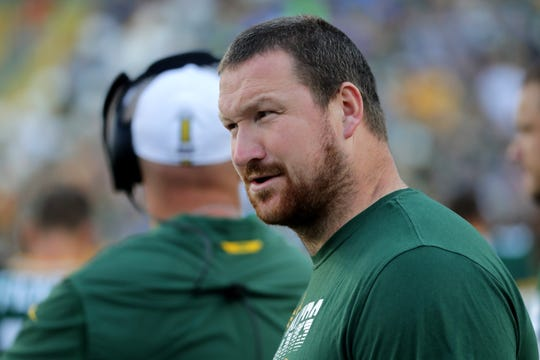 Green Bay Packers offensive tackle Bryan Bulaga is shown before their pre-season game against the Houston Texans Thursday, August 8, 2019 at Lambeau Field in Green Bay, Wis.