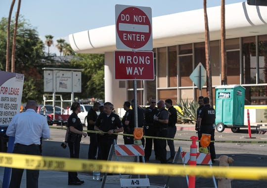 Police work where an officer-involved shooting occured in the area of Palm Canyon and Camino Parocela in Palm Springs, August 8, 2019.