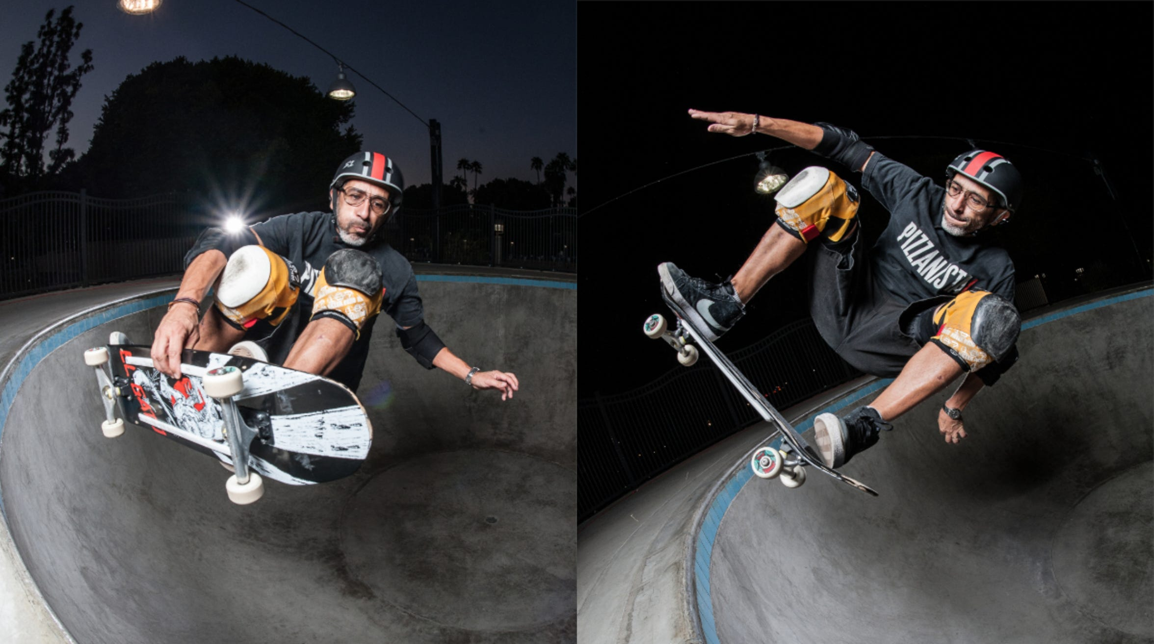 "Eddie ""El Gato"" Elguera, a legendary skateboarder from the late 1970s, takes a ride at the Palm Springs Skate Park in 2015."