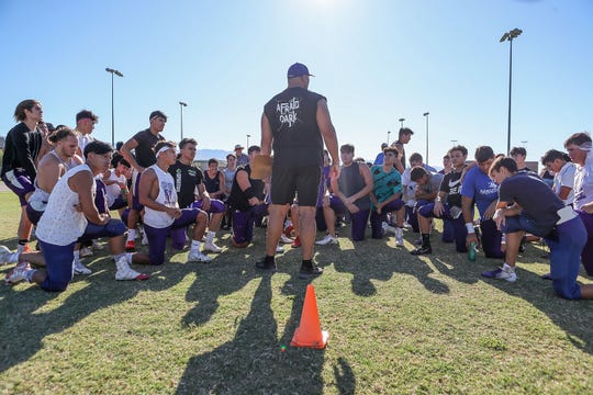 The post practice pep talk at Shadow Hills High School practice, August 9, 2019.