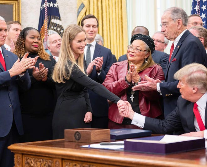 Jessica Jackson of Mill Valley shakes hands with President Donald Trump in the Oval Office at the White House in Washington, D.C.  (White House photo)