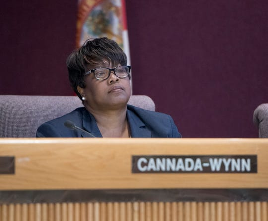 Jewel Cannada-Wynn, District 7, during the meeting at City Hall in Pensacola on Thursday, August 8, 2019.