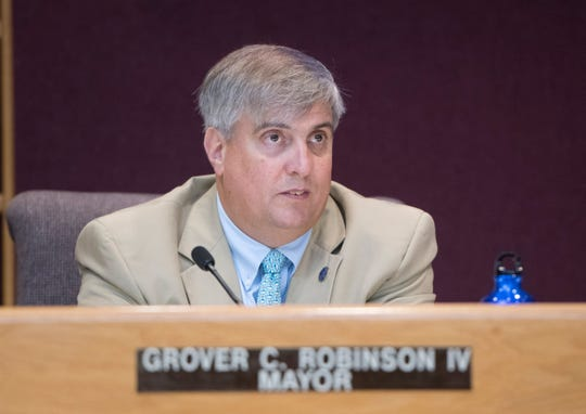 Pensacola Mayor Grover Robinson speaks during the Pensacola City Council meeting on Aug. 8.