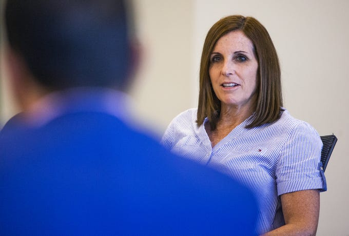 Arizona Republican Senator Martha McSally meets with a panel in Phoenix to talk about counterfeit drugs and health care, Thursday, August 8, 2019.
