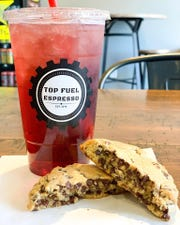A drink and chocolate chip cookie from Top Fuel Espresso. The coffee shop is in Gilbert's San Tan Village.