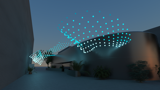 """Digital rendering of the Squidsoup collective's planned """"Murmuration"""" installation at the Scottsdale Museum of Contemporary Art."""