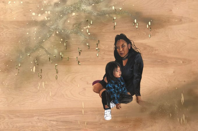 """""""Grace and Ira, Golden Hour at and Despite Steele Indian School Park"""" (2019), mixed media on wood by Shizu Saldamando."""