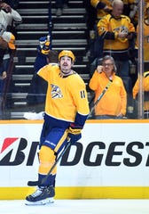 Nashville Predators center Brian Boyle (11) celebrates after scoring a goal during the first period against the Toronto Maple Leafs at Bridgestone Arena on March 29, 2019.