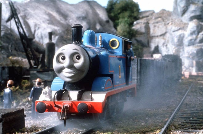 "Thomas the Tank Engine, the main animated character of ""Thomas the Tank Engine & Friends,"" idles on the show's set at London's Sheperton Studios in this 1998 promotional photo."