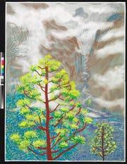 "David Hockney, ""Yosemite I, October 5th 2011,"" iPad drawing printed on paper."