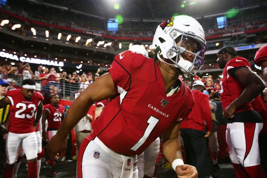 Cardinals rookie quarterback Kyler Murray (1) takes the field to make his first NFL start against the Chargers on Aug. 8 in a preseason game.