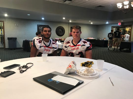 Lebanon High linebackers David Vargas, left, and Andrew Bowers were among those players on hand for the annual Lancaster-Lebanon Football Media Day on Friday.