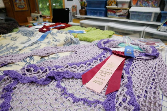 Peggy Norton's first place winning crocheted sweater at her home in Staatsburg on August 7, 2019. Peggy has been entering needlecraft items in the Dutchess County Fair since 2008.