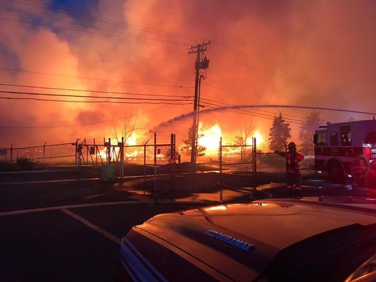 Firefighters battle blaze in Stead on Aug. 8, 2019 in Stead, Nevada.
