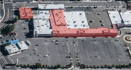 The Reno Public Market project located on the former Shoppers Square site. The red lines denote parts of the building that will be demolished as part of a $34 million remodeling project.