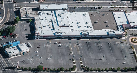 An aerial shot of Reno Public Market, formerly known as Shoppers Square, prior to its remodel and new construction.