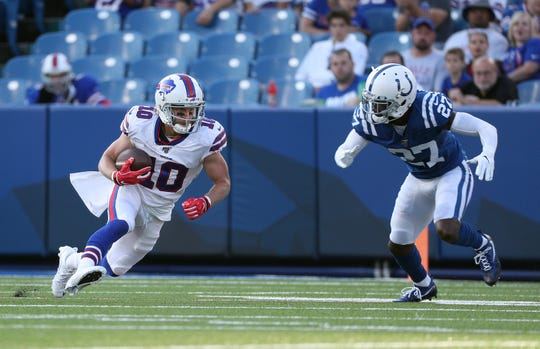 Bills receiver Cole Beasley turns upfield against Colts Nate Hairston.