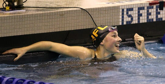 Honeoye Falls-Lima's Cari Stankaitis in 2012, after she broke a 21-year old state record in the 50 freestyle with a time of 23.25.