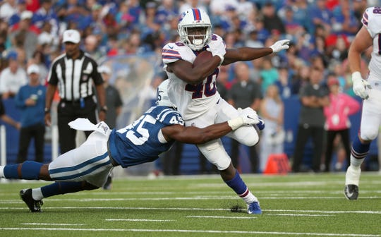 Rookie running back Devin Singletary looking for extra yardage against the Colts.