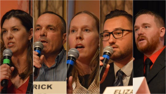 Candidates running for the open seat representing California's 1st Assembly District gathered at a forum in downtown Redding on Thursday, Aug. 8.