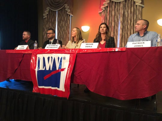 Left to right: Assembly District 1 candidates  Joseph Turner, Lane Rickard, Elizabeth Betancourt, Megan Dahle and Patrick Jones participate at a League of Women forum Thursday, Aug. 8, 2019 at Old City Hall in downtown Redding.
