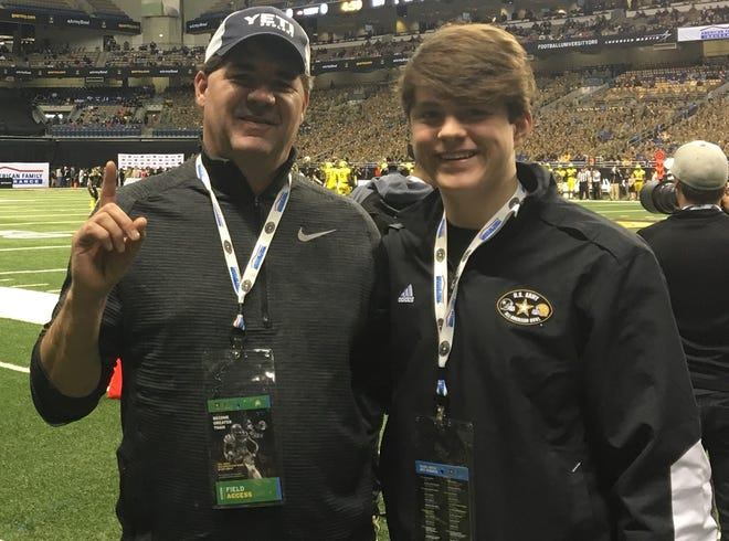 The late Dr. Chad Hargon and his son, Geron, a linebacker for Captain Shreve.