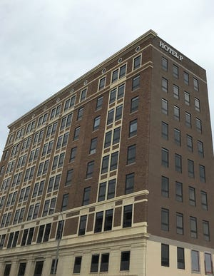 The under-construction Hotel on Phillips in downtown Sioux Falls, pictured on Fri., Aug. 9 with incomplete signage on its east side. The building is being rebranded from its original planned name: Hotel Phillips.