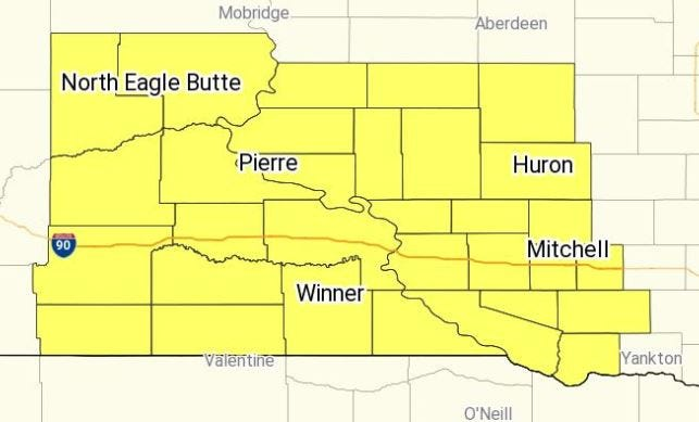 The counties in yellow are under a tornado watch until 9 p.m. on Friday, Aug. 9, 2019.