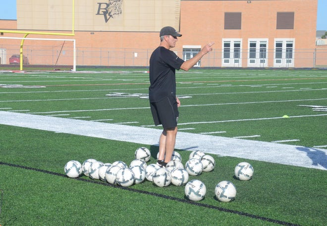 Boys soccer coach Chris Limmer at practice on Thursday August 8, 2019 prior to the start of the regular season.