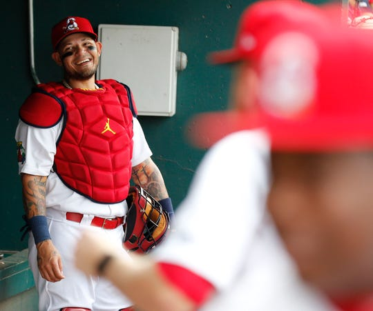 The St Louis Cardinals' Yadier Molina seen here during his rehab assignment with the Springfield Cardinals in Springfield on August 8, 2019.