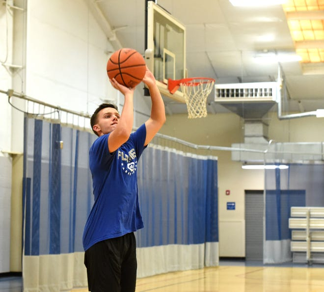 Chance Church, who transferred from Wilson Memorial to Eastern Mennonite before the 2018 season, works on his game at the Staunton-Augusta YMCA.
