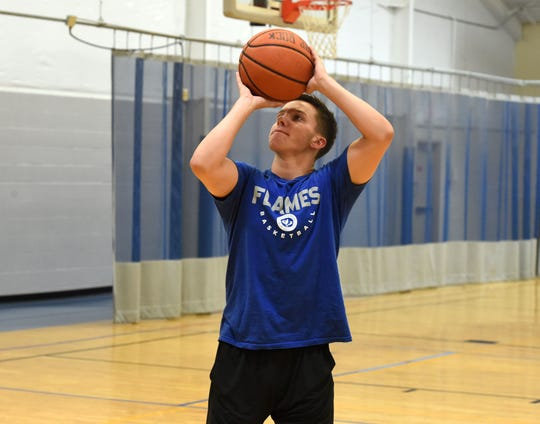 Chance Church works out at the Staunton-Augusta YMCA Thursday as he prepares for his senior season at Eastern Mennonite High School.