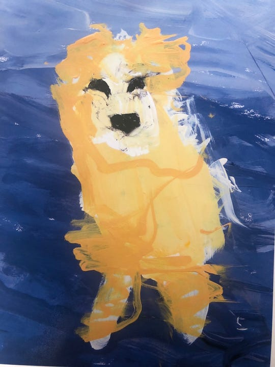 A commissioned piece, Golden Retriever, acrylic on canvas, by Loren Miner.