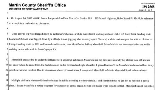 Narrative of sheriff's report