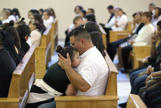 Friends and family of Juan de Dios Velásquez attend his funeral Mass on Friday, Aug. 9, 2019, at Our Lady of the Light Church in El Paso, Texas. Velásquez was the first person shot in the parking lot of the Walmart in East El Paso on Saturday, Aug. 3, 2019.