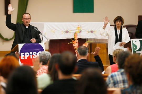 """Standing Against Fear"" hosted by El Paso Interreligious Sponsoring Organization/Border Interfaith, Thursday, Aug. 8, 2019, at St. Paul's Catholic Church in El Paso. The gathering was intended to help attendees ""grieve and rebuild the bonds of trust to overcome fear and hate."""