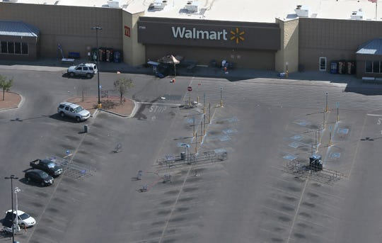 Aerial photographs of Walmart near Cielo Vista Mall where a shooting that killed 22 and wounded 25 others happened Saturday, Aug. 3.