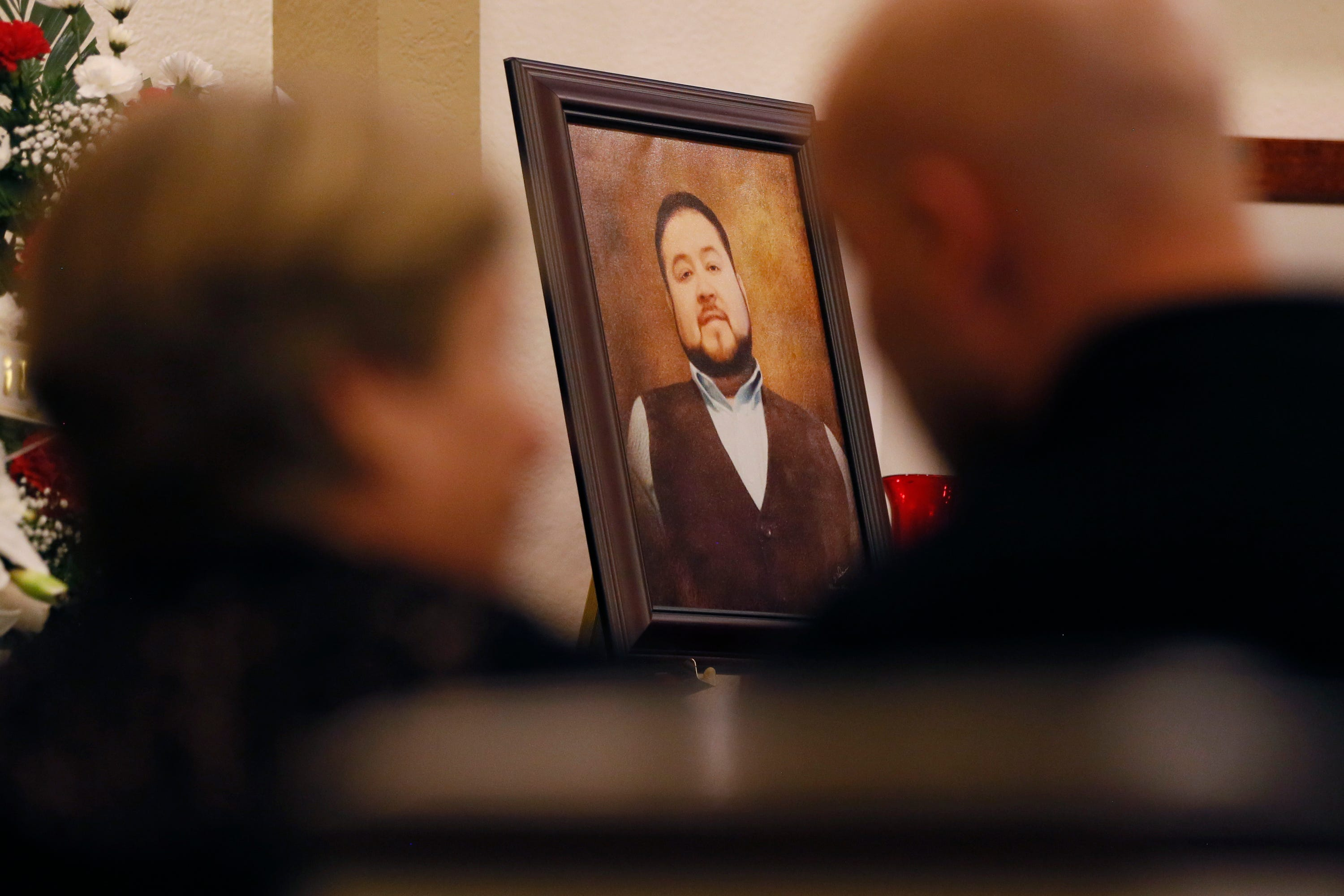 Friends and family attend a service for Leonardo Campos on Thursday, Aug. 8, 2019, at Sunset Funeral Home in El Paso. Campos was one of 22 people killed in the shooting at Walmart on Aug. 3, 2019.