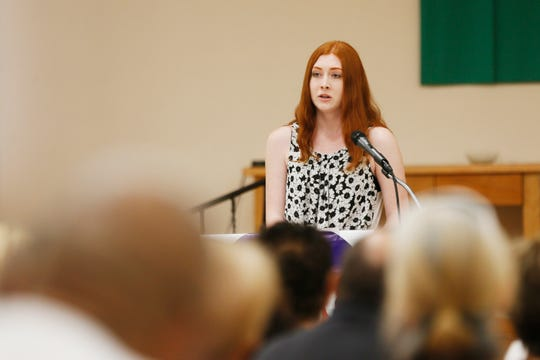 "Catherine Washington, 18, recalls how she felt the day of the Walmart shooting during ""Standing Against Fear,"" hosted by El Paso Interreligious Sponsoring Organization/Border Interfaith on Thursday, Aug. 8, 2019, at St. Paul's Catholic Church in El Paso."