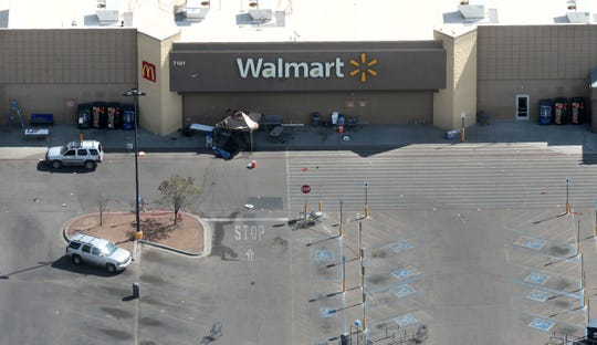 Aerial photographs of Walmart near Cielo Vista Mall where a shooting that killed 22 and wounded 25 others happened Saturday, August, 3. Some vehicles still remain in the crime scene.