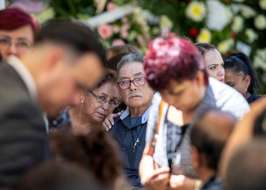 Family and friends gathered for the funeral service of Elsa Mendoza de la Mora in Ciudad Juárez, one of 22 people killed in the Saturday, Aug. 3 massacre at an El Paso Walmart. Beto O'Rourke visited two funerals in Ciudad Juárez on Aug. 8, 2019.