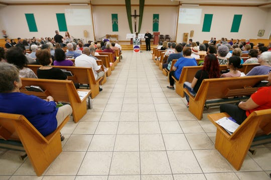 """Standing Against Fear,"" hosted by EPISO/Border Interfaith, on Thursday, Aug. 8, 2019, at St. Paul's Catholic Church in El Paso. The gathering was intended to help attendees ""grieve and rebuild the bonds of trust to overcome fear and hate."""