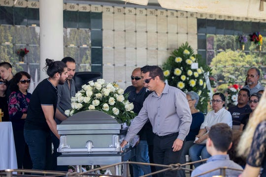 Family and friends gathered for funeral services in Ciudad Juárez of Elsa Mendoza de la Mora, one of 22 people killed in the Saturday, Aug. 3 massacre at an El Paso Walmart